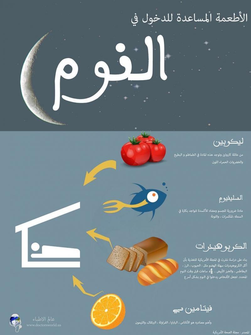 الاطعمة المساعدة للنوم #إنفوجرافيك