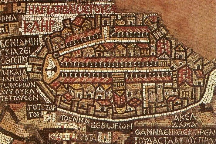خريطة موزاييك #مادبا #الأردن المكونة من 2 مليون قطعة