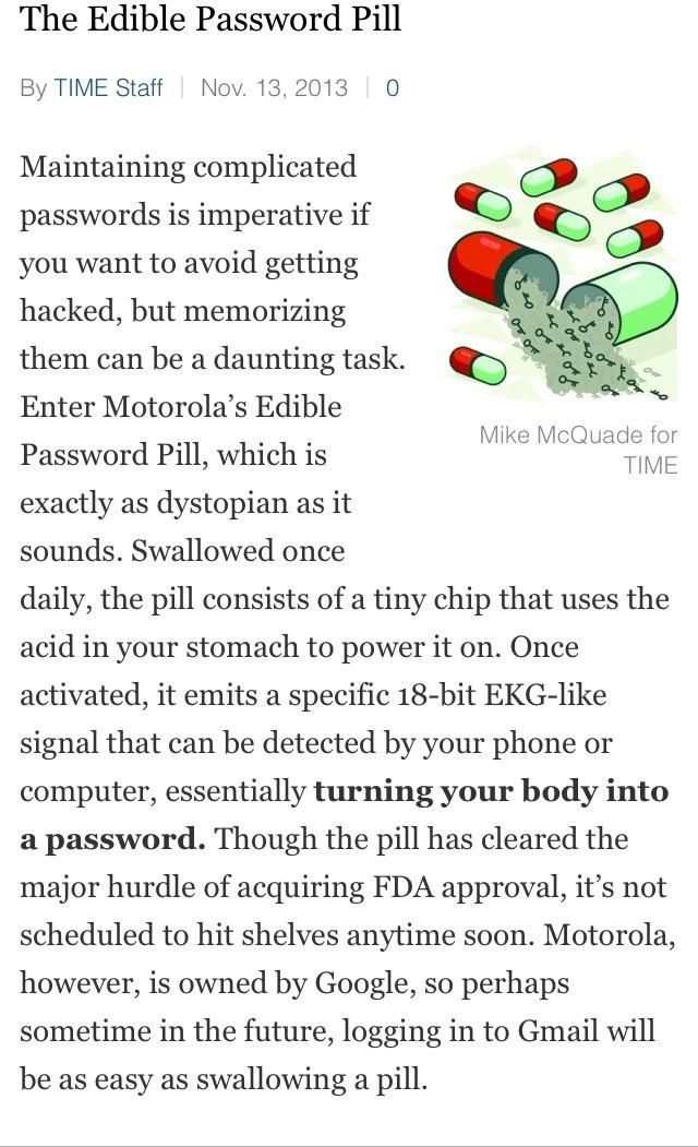Motorola Edible Password Pill #inventions2013