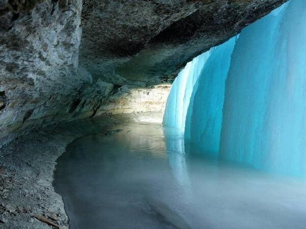 Behind a Frozen Waterfall in Minnesota