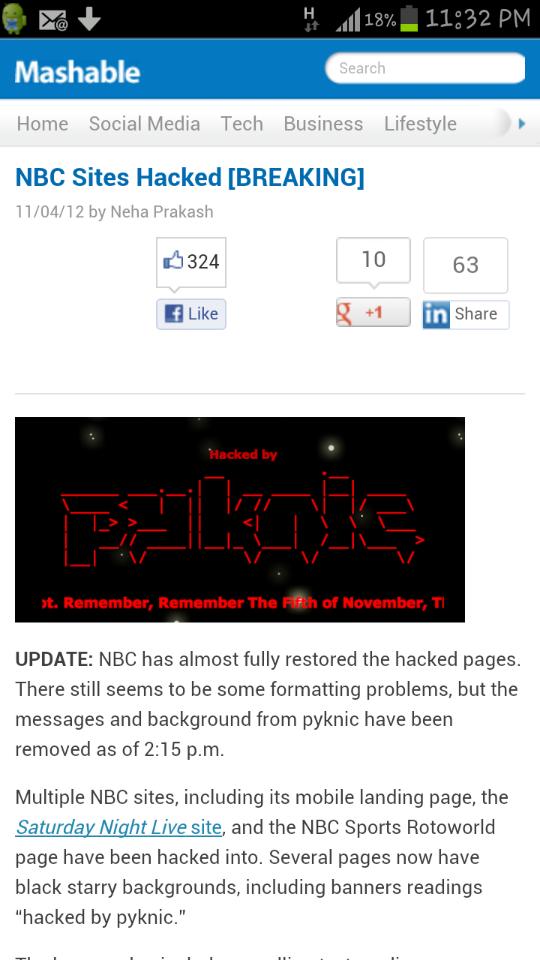 إختراق موقع إن بي سي