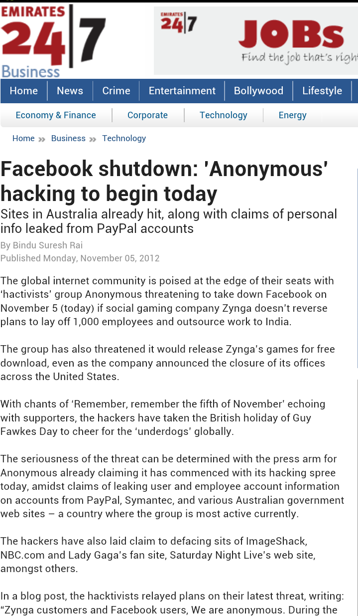 Facebook shutdown: 'Anonymous' hacking to begin today
