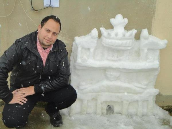 مجسم البتراء من الثلج في #الأردن
