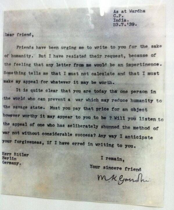 A letter from Gandhi to Hitler, written in July 1939