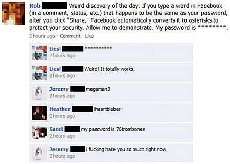 Facebook password detection