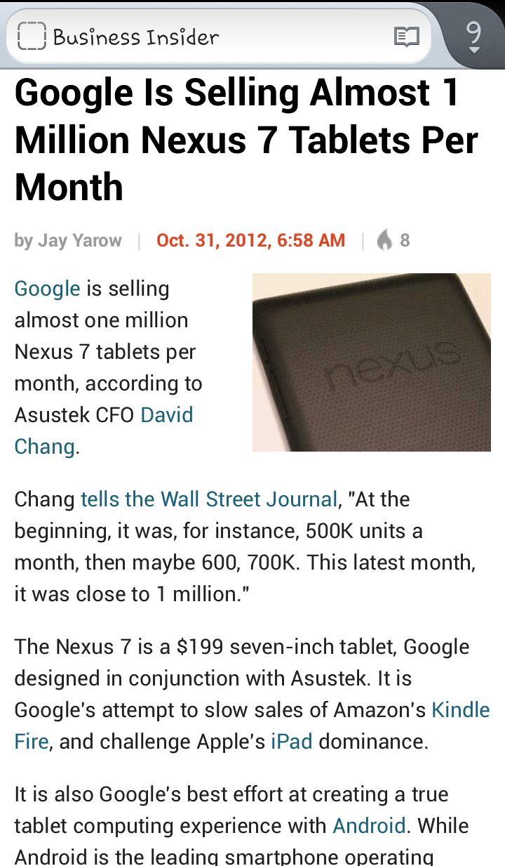 Google is selling around 1 Million Nexus 7 tablets per month