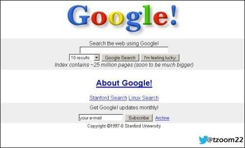شاهد صفحه قوقل Google عند انطلاقة عام 1997م..!