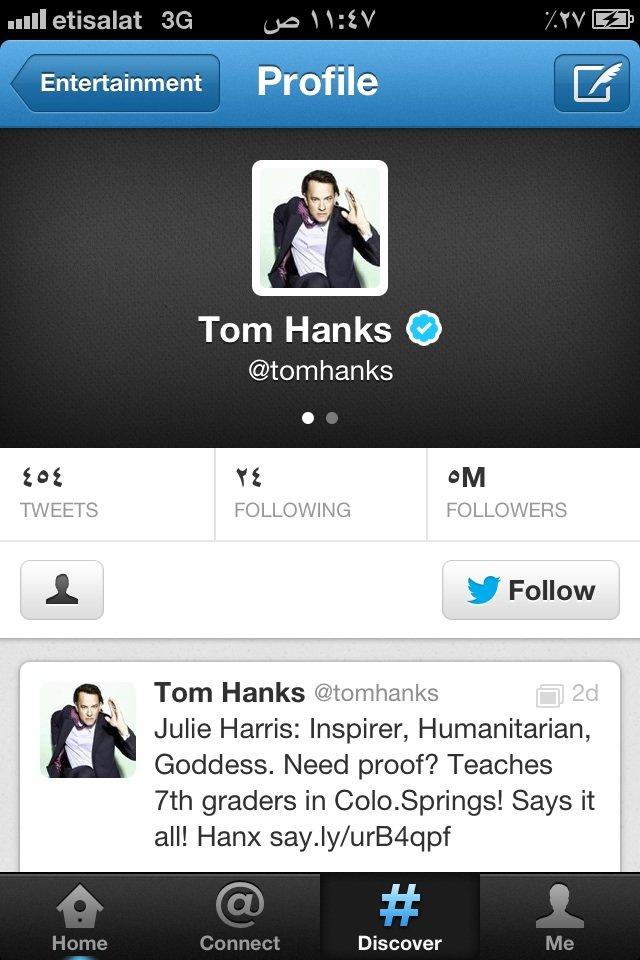 حساب #توم_هانكس على #تويتر #مشاهير