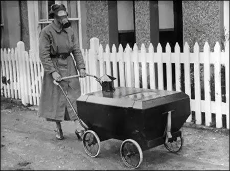 Baby stroller protected from gas attacks 1938