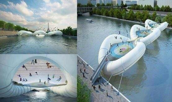 New bridge in Paris made entirely of trampolines