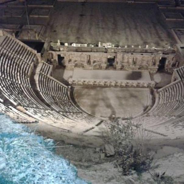 المدرج الروماني في #عمان #الأردن مكسو بالثلج عام 2013