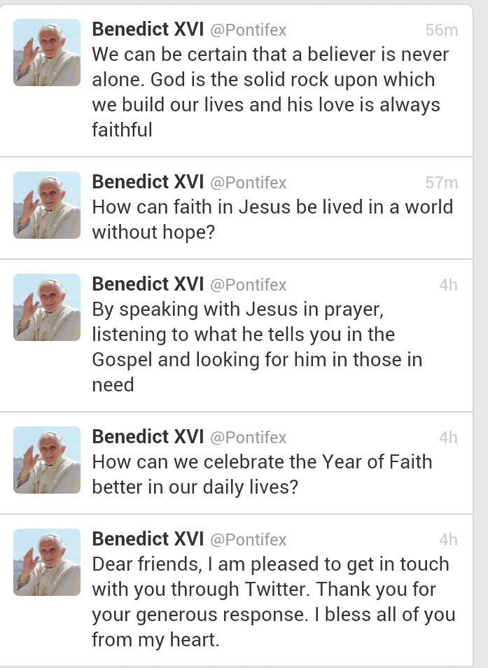 using an iPad, the Pope Tweets His First Messages to 1 Million Followers