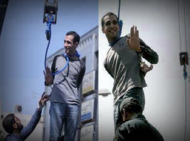الشاب حسين خضري وهو يودع أهله قبل الإعدام