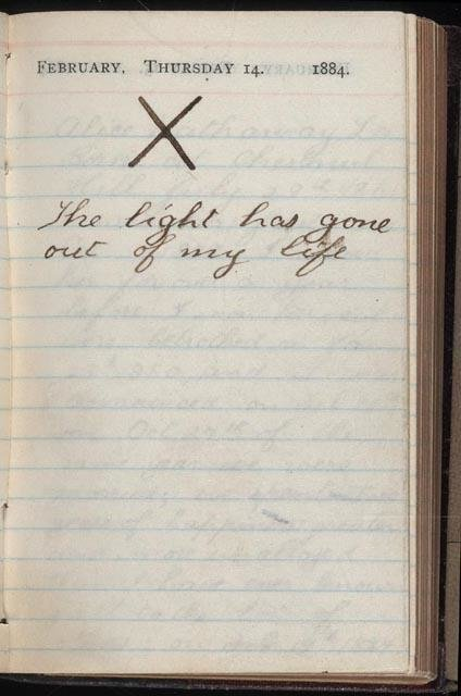 Theodore Roosevelt's diary on Valentine's day, after his wife and mother died on the same day. 1884