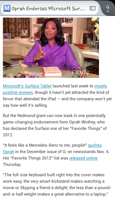 أوبرا تأييد #مايكرسوفت_سيرفيس و تقول أنه أشبه بسيارة مرسيدس