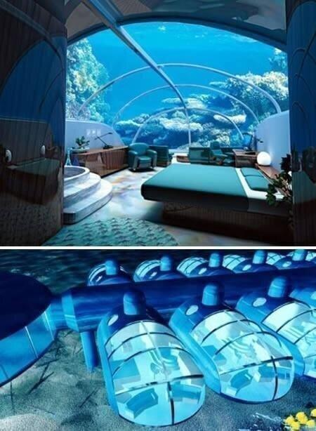 The Poseidon Resort, Fiji. You can sleep on the ocean floor.