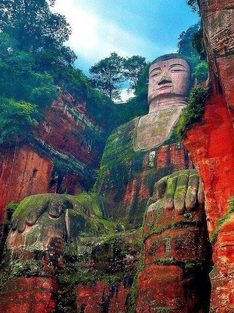 Leshan Giant Buddha in Leshan, China. Largest carved stone Buddha and tallest pre-modern statue in the world...