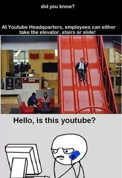 Youtube employees can either take the elevator,stairs or slide!!!!