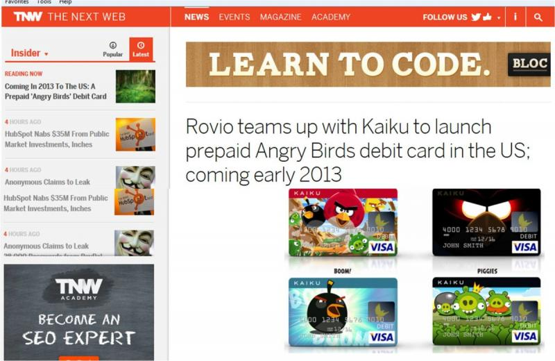 Rovio Presents prepaid Angry Birds debit card, only in th US