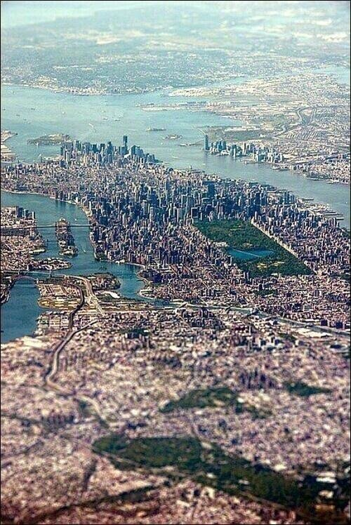 A great bird's eye view over New York City, USA