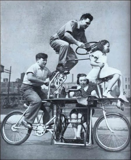 A bicycle that fits a whole family plus a sewing machine 1939