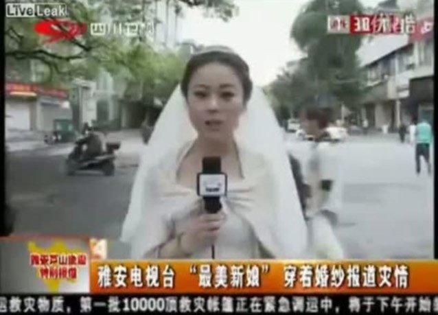 مراسلة صينية تترك زفافها لتغطي أحداث الزلزال