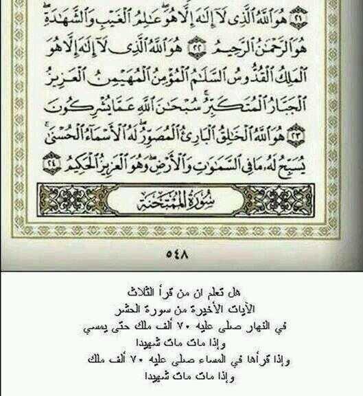 فضل الايات الاخيرة من سورة الحشر ..