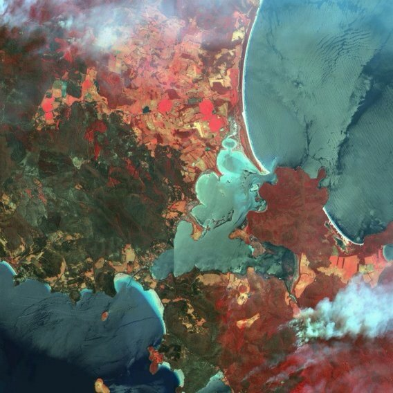 A false color image of wildfires in the Australian state of Tasmania