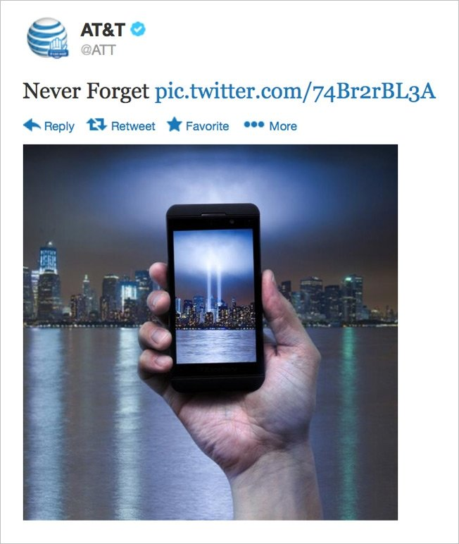 AT&T Apologizes for 9/11 Image Showing Phone Framing the Tribute in Light