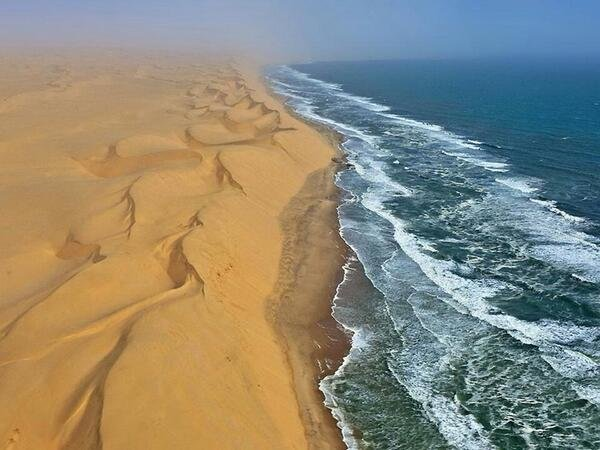 There is a country in Africa named Namibia, where a desert meets with a sea