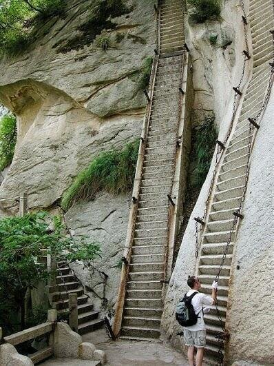Impossible stairs in Hua Shan, China