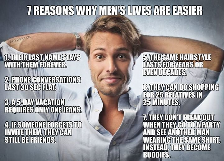 7 reasons why men's lives are easier