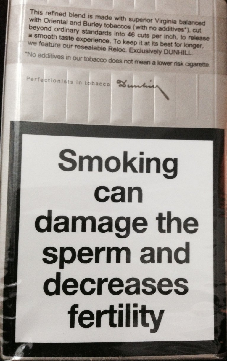 Smoking Warning on Dunhill cigarettes