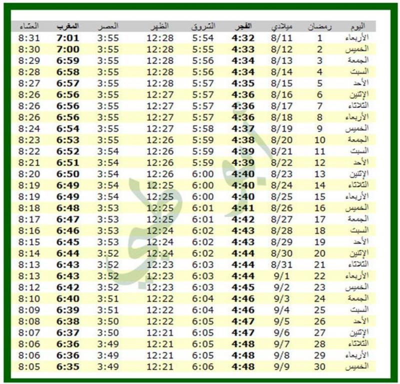 امساكية شهر رمضان 1434 - 2013 أبوظبي