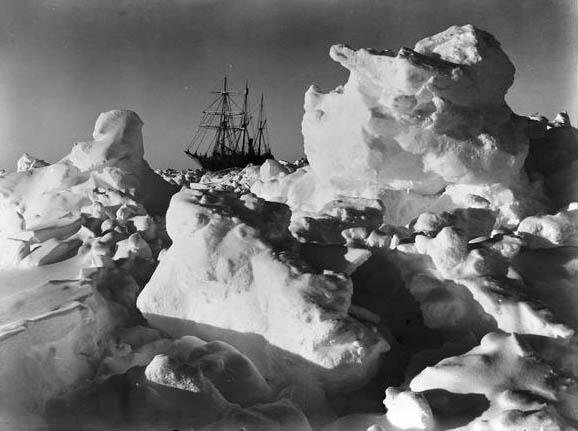 HMS Endurance trapped in Antarctic pack ice.