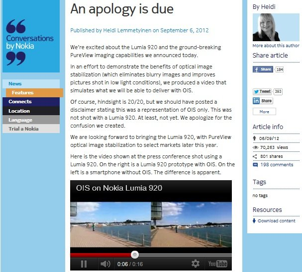 Nokia Apologizes for a misleading Lumia 920 video/ad