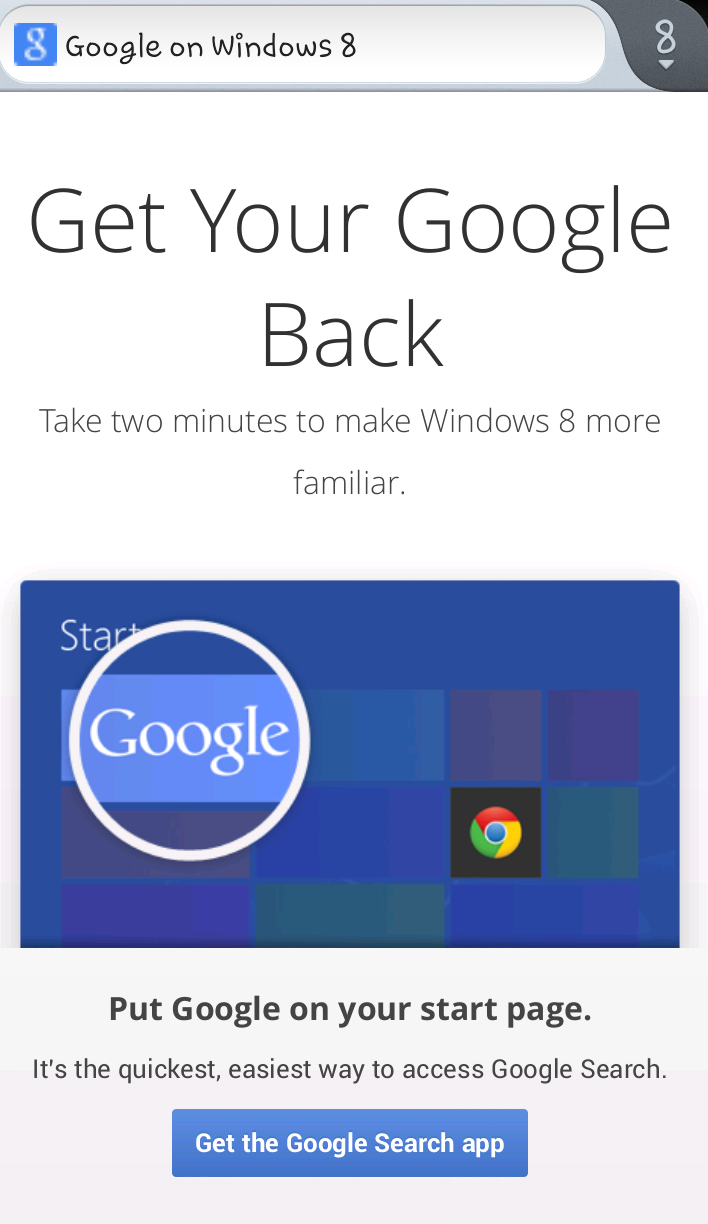 get your #google back campaign for windows 8 users