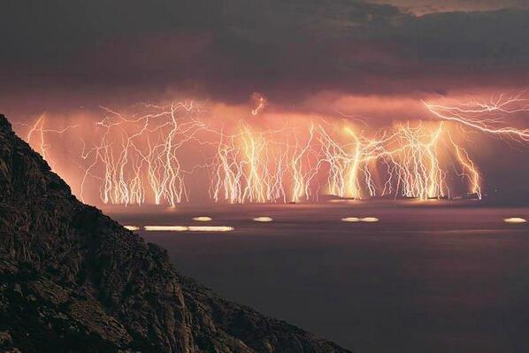 shots of lightning at Ikaria Island