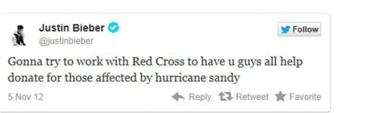 Justin Bieber will Help With Sandy Relief
