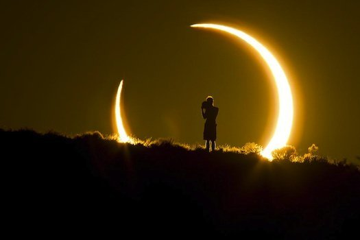 sunset during a solar eclipse in Albuquerque, New #Mexico