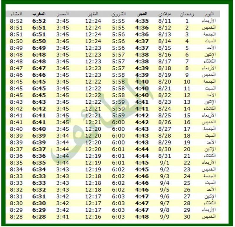 امساكية شهر رمضان 1434 - 2013 الطائف السعودية