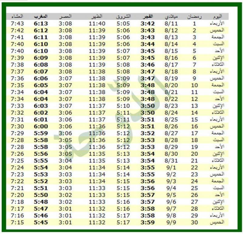امساكية شهر رمضان 1434 - 2013 الدوحة قطر