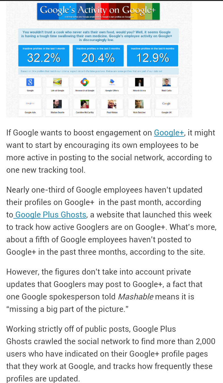One-Third of Google Employees Haven't Posted to Google+ in Past Month [REPORT]