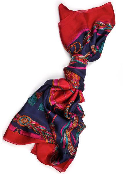 شالات شتاء 2014 : شال حرير أزرق و أحمر بزخارف بحرية