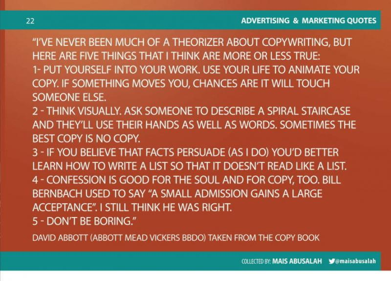 Advertising & Marketing Quotes14 by @Maisabusalah for the full booklet check http://ow.ly/no5lZ