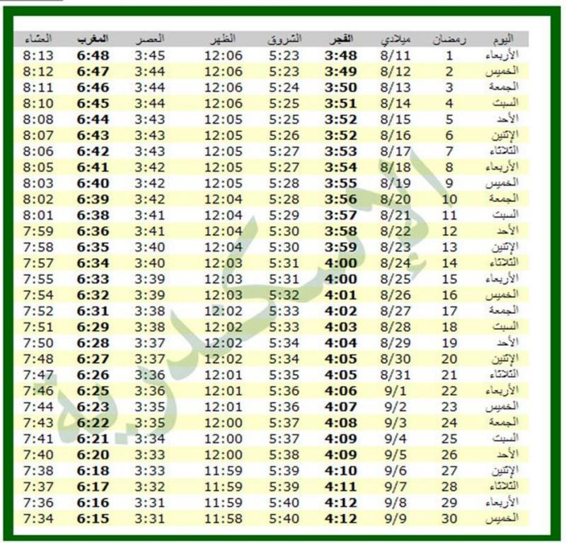 امساكية شهر رمضان 1434 - 2013 الاسكندرية