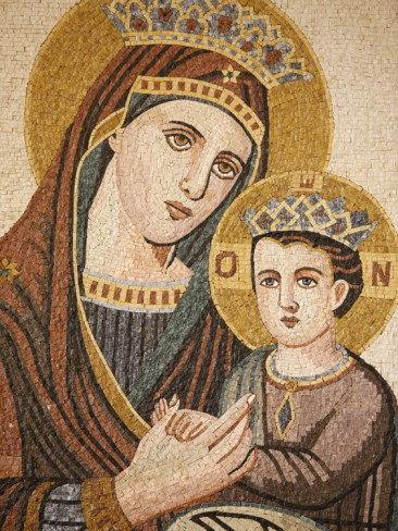 فسيفساء مريم العذراء والطفل في كنيسة القديس جورج للأرثوذكس #مادبا #الأردن
