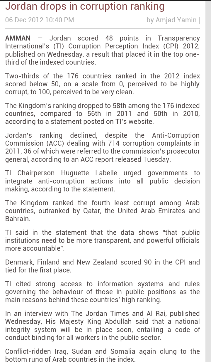 Jordan drops in corruption ranking