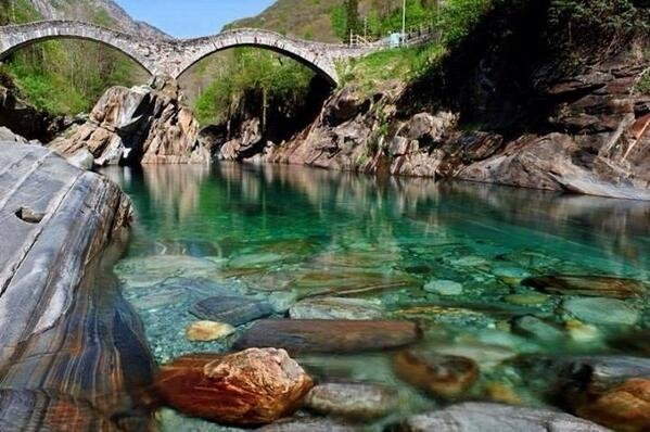 The Verzasca River is crystal clear