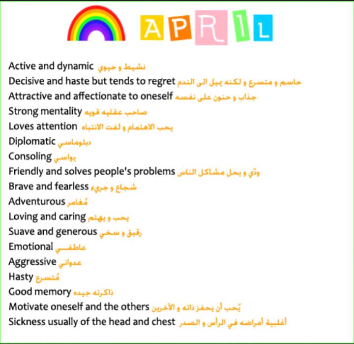 تحليل شخصية مواليد شهر 4